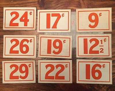9 vintage 1940-1950 COUNTRY CANDY DIME GENERAL STORE PRICE LABELS TAGS  #1