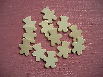 12 x 32mm Teddy Bear Shapes - Unpainted Wooden Pieces - Craft Scrapbooking