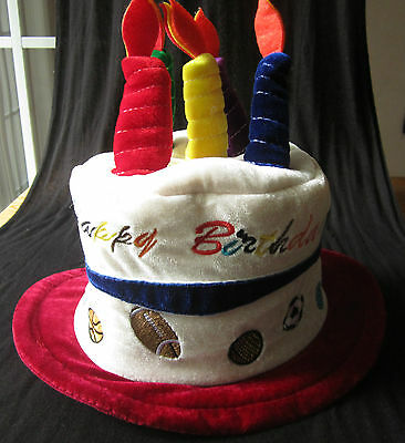 Happy Birthday hat Sports theme Birthday cake with candles cap adjustable