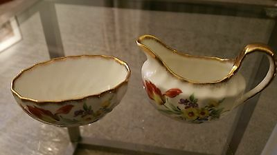 Taylor And Kent Collectible Sugar And Creamer Set Floral And Gold Trim England