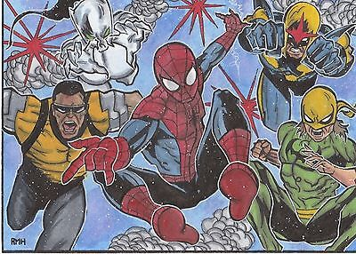 Marvel ACEO PSC 5 x 7 sketch card by Rich Hennemann. Spiderman Lot 4