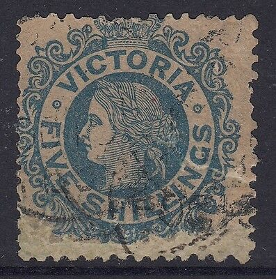 Victoria  Rare  5/- Blue on Yellow    used