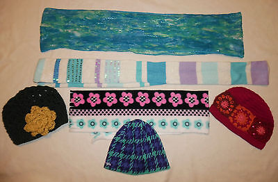 GIRLS Colorful Sparkly Knitted Random Lot Scarves Hats SIZE 7 / 8