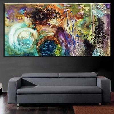 MODERN ABSTRACT LARGE WALL ART HAND PAINTED OIL PAINTING ON CANVAS 24x48in