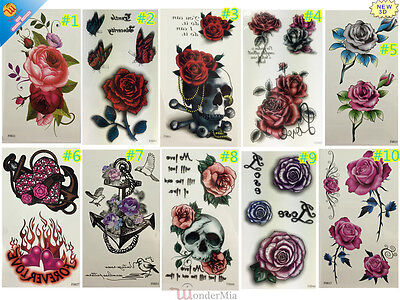 3D Temporary Waterproof Removable Body Art Tattoo Sticker 10-design (Roses) CA