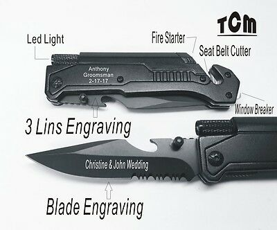 9 Groomsmen Gifts- Personalized Rescue Survival Emergency Pocket Hunting Knives