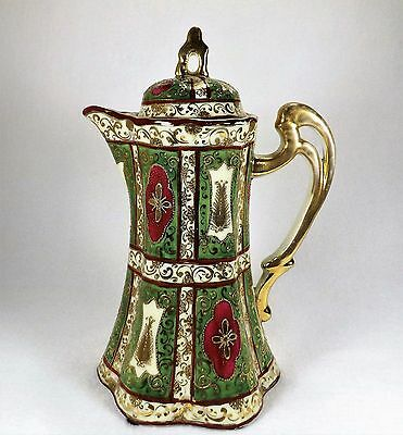 Exquisite Antique Chocolate Pot Gold Moriage Hand Painted Incredible Detailing