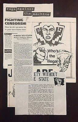 Lot Vtg 90s Rage Against The Machine Anti Censorship Protest Flyers Chicano 1993