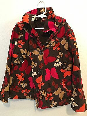 Gap Kids Girl's Size Small 6-7 Brown w/ Leaves & Butterflies Hooded Jacket/Coat