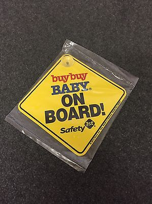 NEW Buy Buy Baby BABY ON BOARD Yellow/Black Safety 1st Suction Car Sign