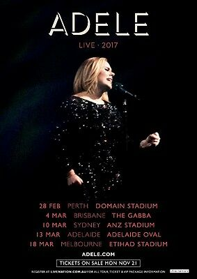 2 x Adele tickets - A RESERVE SEATED - SYDNEY - Fri 10th March