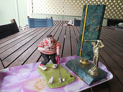 Comic Golf Figurine Coupled With Excellent Golf Trophy