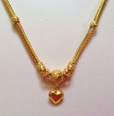 Gold Plated Necklace  24k Yellow Men Women 24 Inches Heart