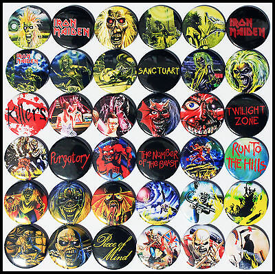 Iron Maiden 1980-1983 Badge Set - 36 Quality Pin / Button Badges (Heavy Metal)
