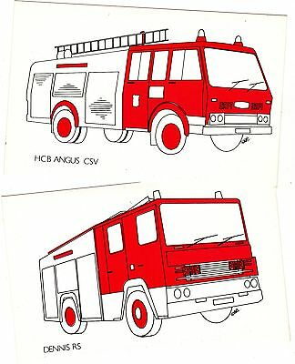 1980's Fire Engine Postcards