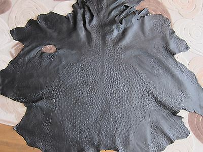 Authentic Ostrich Skin leather hide Genuine ostrich leather  Black