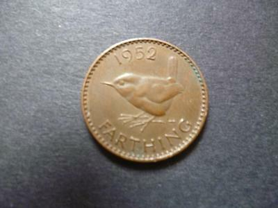 1952 Farthing Coin, King George The Sixth In Good Used Condition, Bronze.