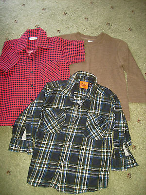 Boys Size 3 Flannelette Shirts & Thick Long Sleeve T-Shirt.