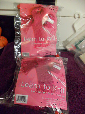 Patons Child's Learn to Knit in Fab Knitting Kit Funky Scarf x 2