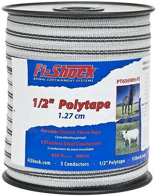 Fi Shock 656 ft Electric Fence Poly Tape Insulators Wire Safe System White Horse