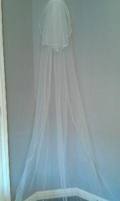 MINAS Bespoke Ivory 2 Tier Cathedraal Veil with ss10 Swarovski pearl Crystals