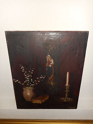 Very old oil painting,{ Beautiful still life, is signed, and antique! }.