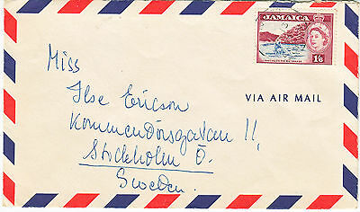 Jamaica QEII 1/6 definitive on airmail cover to Sweden
