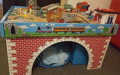 thomas the tank engine wooden train table cranky fat controller trains included