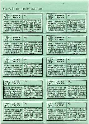 Finland Postage Due Labels, Complete Sheet Of 10