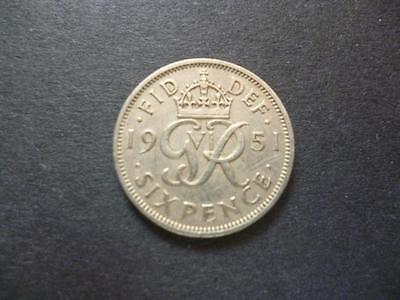 1951 English Sixpence Coin In Good Used Condition, 1951 Sixpence Coin Shown Sent