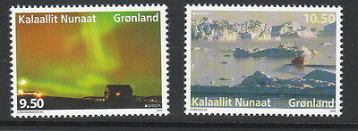 Groenland Année 2012  2 timbres aurores boreales