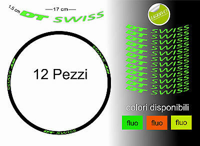 adesivi cerchi dt swiss 26 - 27,5 - 28 - 29 fluorescent 12 pz stickers wheel