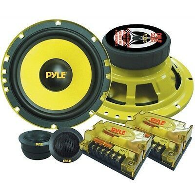 "Sistema 2 Vie Pyle Plg6C 6,5"" 800 Watt Kit 16,50 Cm 165 Mm Woofer Tweeter Giallo"