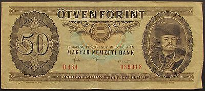 HUNGARY 50 FORINT BANKNOTE dated 1986