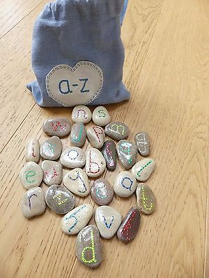 Alphabet stones pebbles lowercase a-z hand painted fun and educational