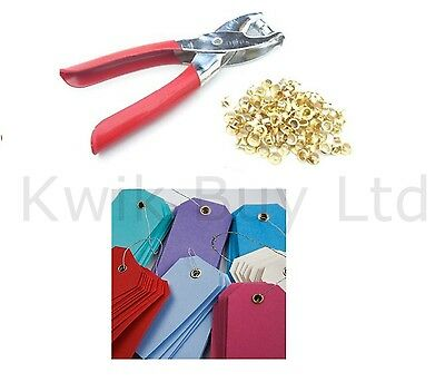Eyelet Pliers Hole Punch Complete Tool Kit Set With 100 Brass Eyelets Craft