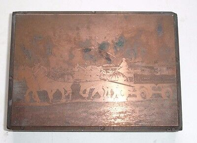 1940's COPPER PRINTING PLATE Horse Team at ROYAL SHOW