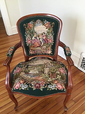 Fine Antique 19Th Cent. Tapestry Needlepoint Carved Armchair