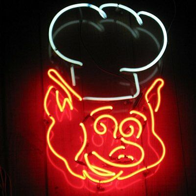 "New Pig Chef BBQ Barbecue Beer Pub Bar Neon Sign 17""x14"" Ship From USA"