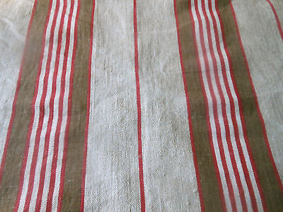 Antique French Rustic Farmhouse Linen Herringbone Ticking Fabric ~  Red Brown