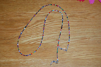 Elegant Eyeglass Cord in a Chain of Multi-Coloured Beads