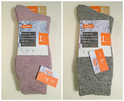2 Pair TRUFIT Ultra Heavy Merino Wool Wicking Crew Socks~9-11~Shoe Size 5-10