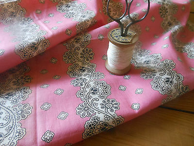 Antique 19thc Pink Black White Foral Garland Bandana Pattern Cotton Fabric ~