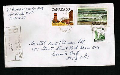 Canada 1981 # 8 registered envelope  3 stamps cat $5.00 used   LOT 804a
