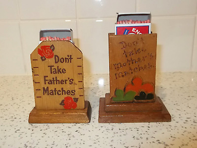 """Pair of Wooden """"Shed Art"""" Matchbox Holders"""