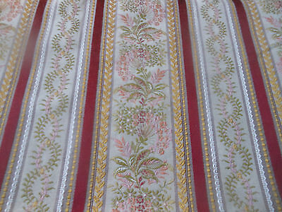Vintage Retro Lisere Jacquard Brocade Fabric ~ Cranberry Red Gold Green Apricot