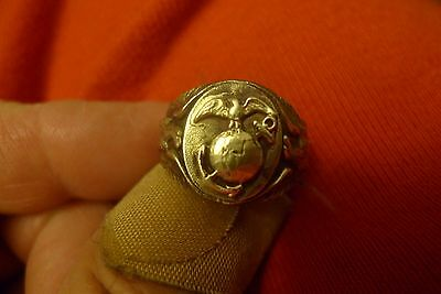 Rare WWI USMC United States Marine Corps Sterling Soldiers Ring No Reserve