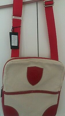 Ferrari Formula 1 Messenger Bag - Club Gift Red Leather on Cream Canvas