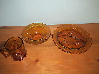 Tiara Exclusives Glass Nursery Rhyme Set of 3 Dishes