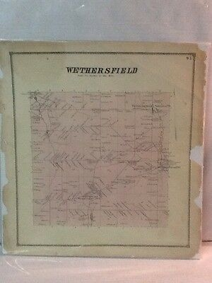1866 Map Town Of Wethersfield New York Original
